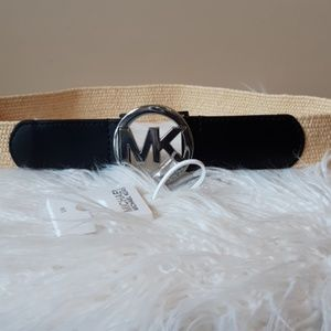 GENUINE MICHAEL KORS LEATHER & STRAW BELT SZ: S/M